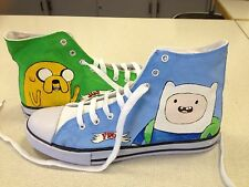 ADVENTURE TIME HAND PAINTED HIGH TOPS CUSTOMISED TO ORDER