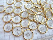20 Clear Plastic Gold Rim 4 Hole Shirt Button/Sewing/Trim/Notion/Craft/Sew Sb21