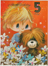 Vintage 1970's Happy 5th Birthday Greeting Card ~ 5 Years Old ~ Cute Puppy Dog