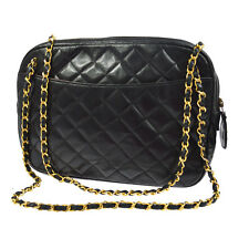 Auth CHANEL Quilted CC Chain Shoulder Tote Bag Black Leather Vintage BT12510