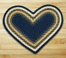 HEART JUTE BRAIDED RUG By EARTH RUGS IN LIGHT AND DARK BLUE, MUSTARD, IVORY