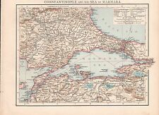 """1900 """"TIMES""""  LARGE ANTIQUE MAP - CONSTANTINOPLE AND THE SEA OF MARMARA"""