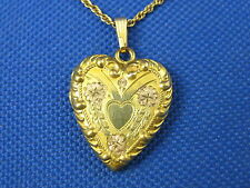 """VINTAGE GOLD FILLED ETCHED FLORAL HEART LOCKET W/ 18"""" 1/20TH 12K GF CHAIN"""