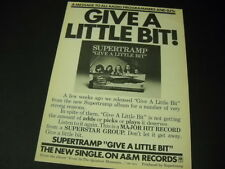 SUPERTRAMP says GIVE A LITTLE to programmers/DJ'S 1977 PROMO POSTER AD mint cond