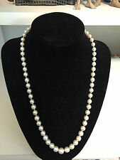 Ladies Estate CULTURED PEARL Necklace 14kt Gold Clasp w Oval Cabochon Green JADE