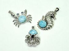 Larimar Pendants (Wholesale) 3 Pendents Premium Jewelry. .925 Sterling Silver
