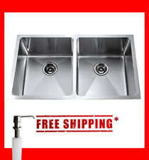 "33"" Undermount Stainless Steel Equal Double Bowl Kitchen Sink SET- KSU33DS set"