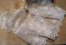 "4"" IMPORTED FRENCH RAYON EMBROIDERED BORDER LACE ON TULLE - WHITE"