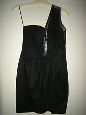 BNWT LADIES POLLY MESH ONE SHOULDER WRAP FRONT BLACK BODYCON DRESS 10 - 12