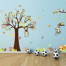 Forest Animal Monkey Owls Tree Wall Sticker Vinyl Mural Decal Kids Nursery Decor