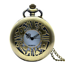 Hollow Rabbit key Poker Alice In Wonderland Pocket Watch Necklace Magic Gift