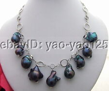R040214 Black Bead-Nucleated Pearl Necklace