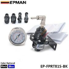 EPMAN RACING TURBO BYPASS BLACK ADJUSTABLE FUEL PRESSURE REGULATOR LIQUID GAUGE