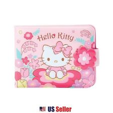 Sanrio Hello Kitty Vinyl Wallet Card Coin Case Pouch : Flower Field Kitty