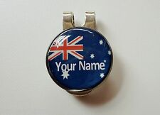 anneys - your OWN PERSONALISED  ** Aussie flag ** golf ball marker + HAT clip!