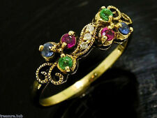 C678 Genuine 9ct SOLID Gold Multi-gem Ruby Sapphire Emerald  Diamond Ring size O