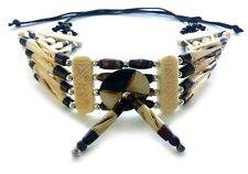 Native American Style Traditional Buffalo Bone Hairpipe Choker Necklace