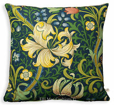 William Morris Fabric Cushion Pillow Cover Golden Lily Vintage Blue Linen