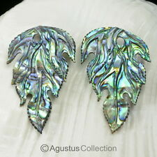 Multicolor PAUA ABALONE SHELL Iridescent Floral Design Earring PAIR 2.52 g