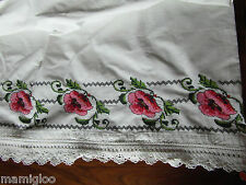 toile brode MAIN coquelicot point croix crochet