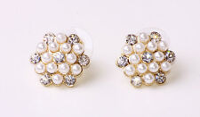 STUNNING FLOWER-SHAPED WHITE PEARLS-LIKE BEADS/RHINESTONE STUD EARRINGS (CL22)