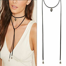New Fashion Women Punk Gothic Style Long Black Velvet Chain Necklace Jewelry Hot