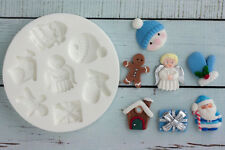 Silicone Mould Christmas Angel Santa Mitten Gingerbread Snowman, Gift, M161