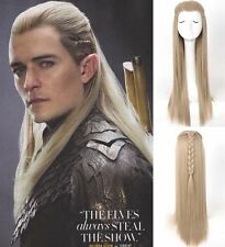 The Hobbit Legolas Long Straight Styled Braids Men Wig Ash Blond Cosplay Wig