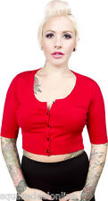 130193 Red Cropped Belle Cardigan Sourpuss Sweater Pinup Rockabilly Retro Small