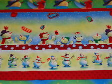 2 yards Christmas/ Holiday Red Snowman Stripe 100% Cotton Fabric