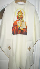 NEW-Chasuble Off White-Picture of St Wojciech-Patron of Poland-Gold Band & Stole
