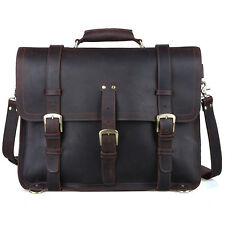 "Men's Large Leather Backpack 17"" Laptop Bag Messenger Shoulder Bag Saddle Travel"