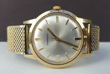 VINTAGE CASED GARRARD SOLID 9CT GOLD GENTS WATCH - KEEPS VERY GOOD TIME