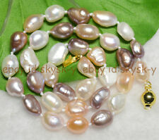 "9-10mm Natural Baroque White Pink Purple freshwater pearl necklaces 18"" AA"