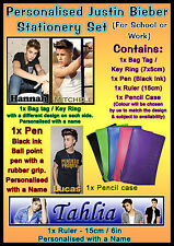 Personalised Justin Bieber Stationery Set - Work / School, In Pencil Case - Gift
