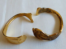 Set of 2 vintage handmade goldplated spoon cuff bracelet Holmes & Edwards Purity