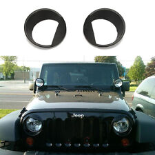 Pair ABS Angry Bird Eyebrow/Eyelid Headlight Cover Trim Bezels For Jeep Wrangler