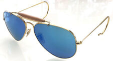 RAY BAN 3030 58 OUTDOORSMAN GOLD ORO PERSONALIZZATO POLARIZED MIRROR BLUE REMIX