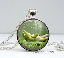 Vintage Lazy Frog Cabochon Silver plated Glass Chain Pendant Necklace @13