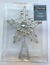 Premier Metal Christmas Tree Topper Golden Silver XMas Tree Decoration with bead