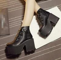 womens ankle boots buckle strap platform high chunky heel shoes round toe D225