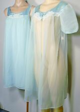 Vintage Sears Lingerie Nigth Gown & Robe Set, Blue & White Lace Trim, Small, New
