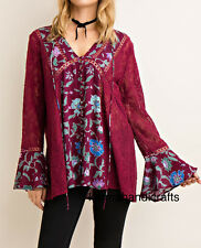 ENTRO USA Umgee Hippie Gypsy Bohemian Hobo Chic Lace Dress Tunic Top Sweater M