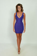 French Connection Purple Stretch Bandage Bodycon Party Mini Dress Size 12 BNWT