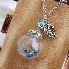 New Crystal Necklaces Flower Bottle Necklace Glass Dried Flowers Leaf Pendants
