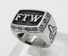 FTW FOREVER TWO WHEELS F#CK THE WORLD OUTLAW BIKER STAINLESS STEEL RING SIZE 10