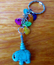 elephant key ring bag charm howlite turquoise blue gemstone chips with gift bag