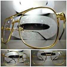 Mens VINTAGE RETRO AVIATOR Style Clear Lens EYE GLASSES Small Gold Fashion Frame
