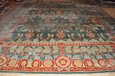 13X19 Ft Turkish Handmade wool area rug hand knotted HUGE green peach blue #pm75