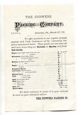 Vintage Price List STOWERS PACKING CO 1878 Scranton PA Meat Ham Bacon Lard Beef